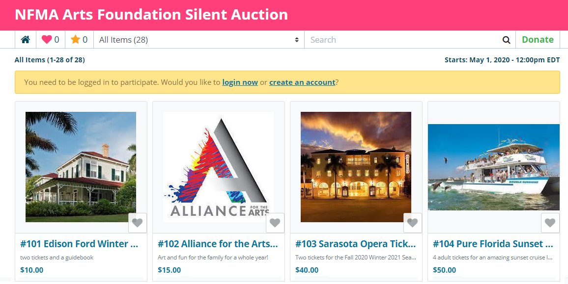 NFMA Arts Foundation Silent Auction Site